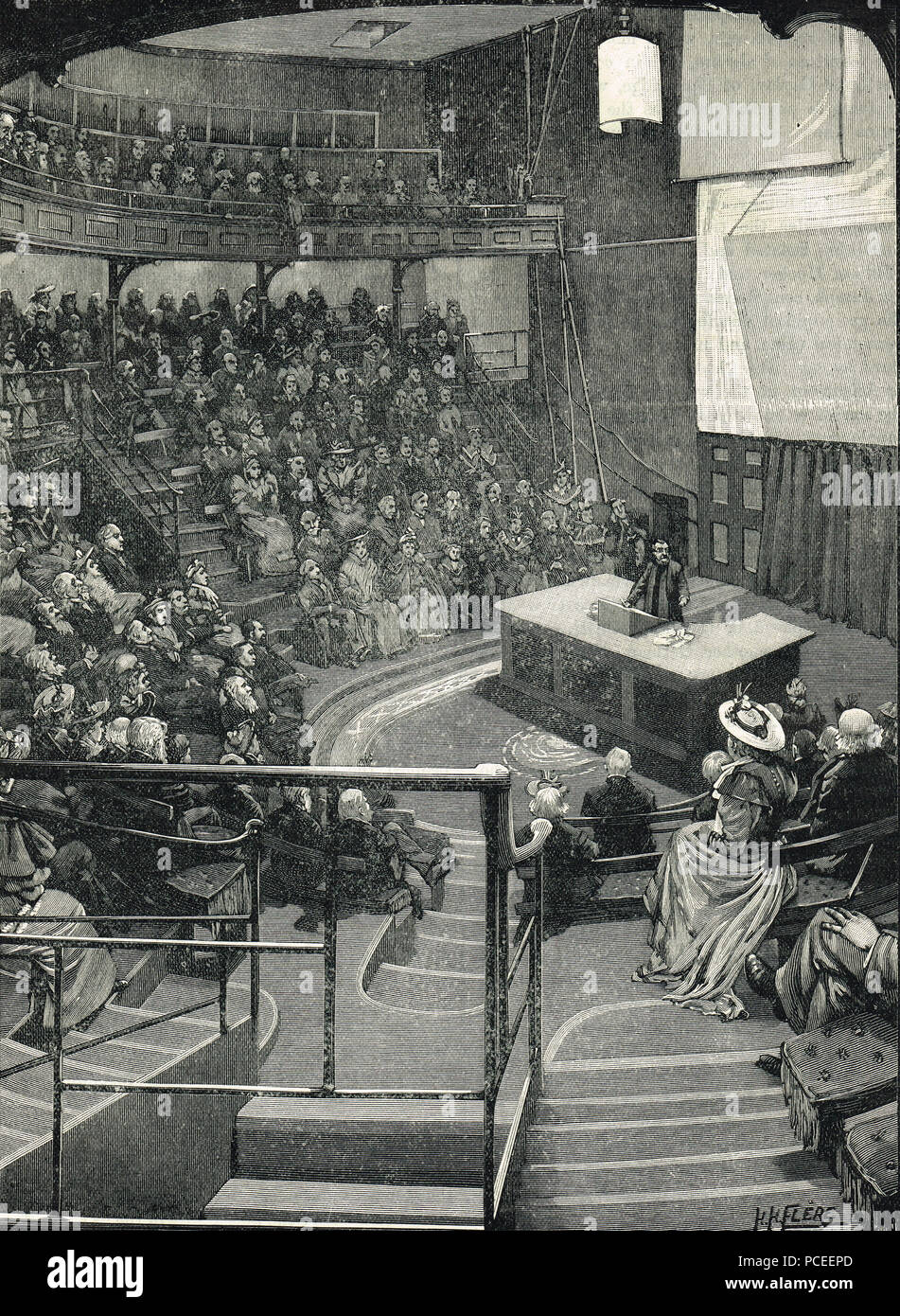 Lecture room of The Royal Institution of Great Britain in the 19th century - Stock Image
