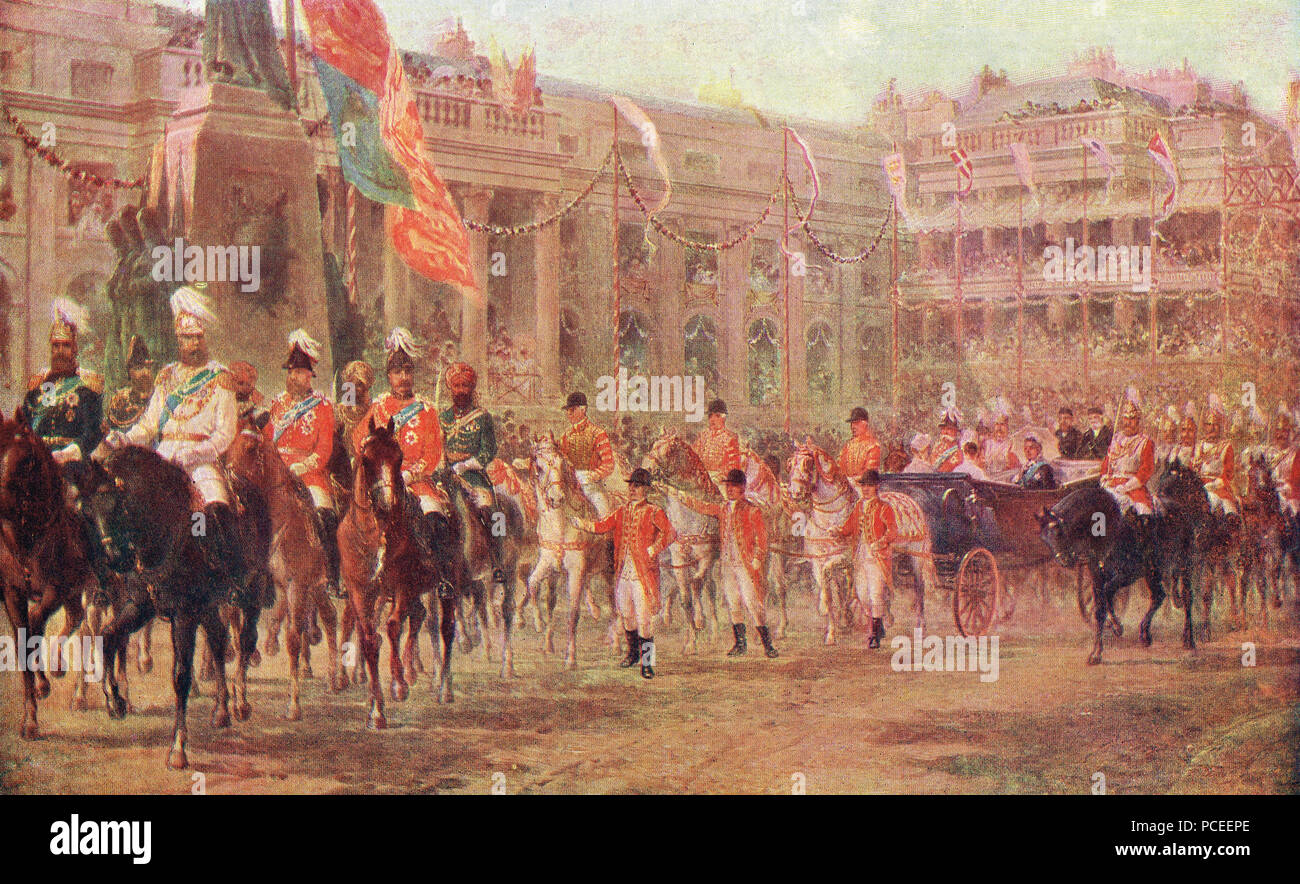 Queen Victoria's Golden jubilee, the royal procession  en route to Westminster Abbey, 21 June 1887 - Stock Image