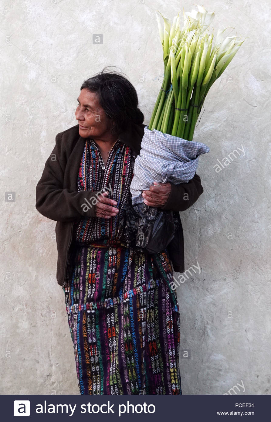 Indigenous Maya Woman in her Traditional Handwoven Solola Textiles Selling Cala Lily Flowers in Antigua, Guatemala - Stock Image