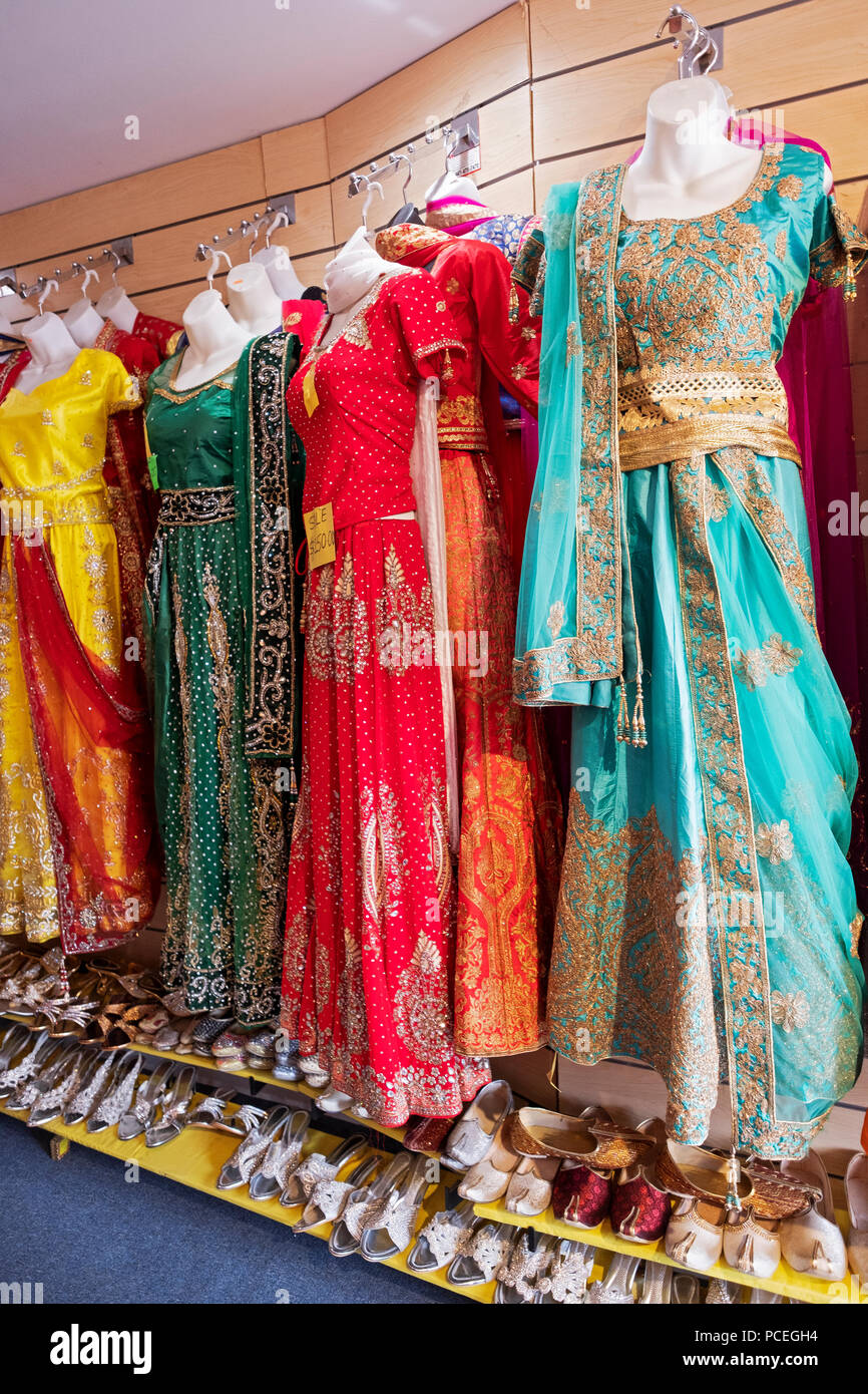 27df0fa8da Colorful saris for sale at Saheli's a Hindu Indian clothing shop on Liberty  ave. in