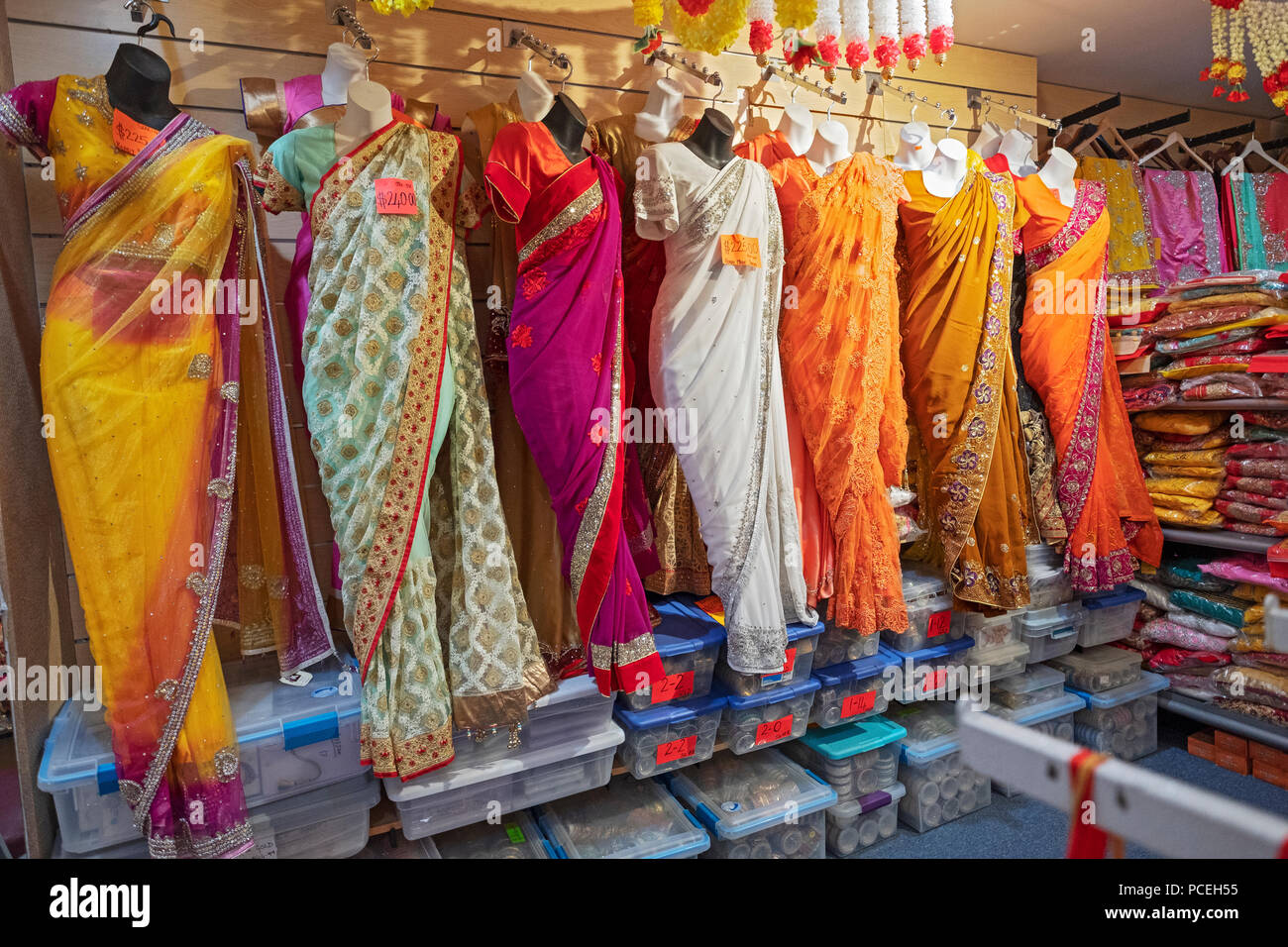 4e346feb604 Colourful saris for sale at Saheli s a Hindu Indian clothing shop on  Liberty ave. in Richmond Hill