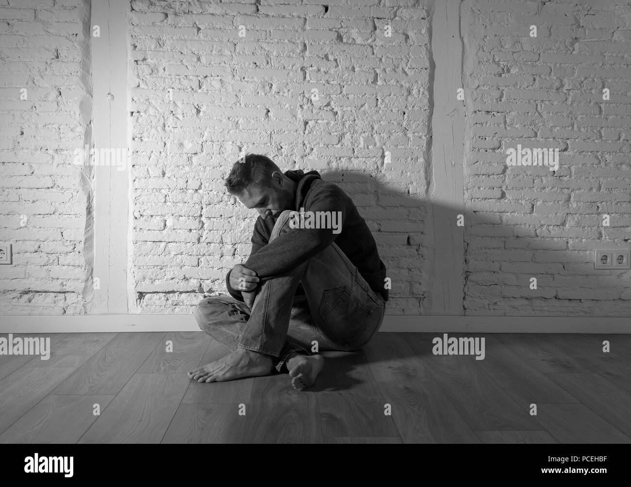 Lonely man black and white stock photos images alamy