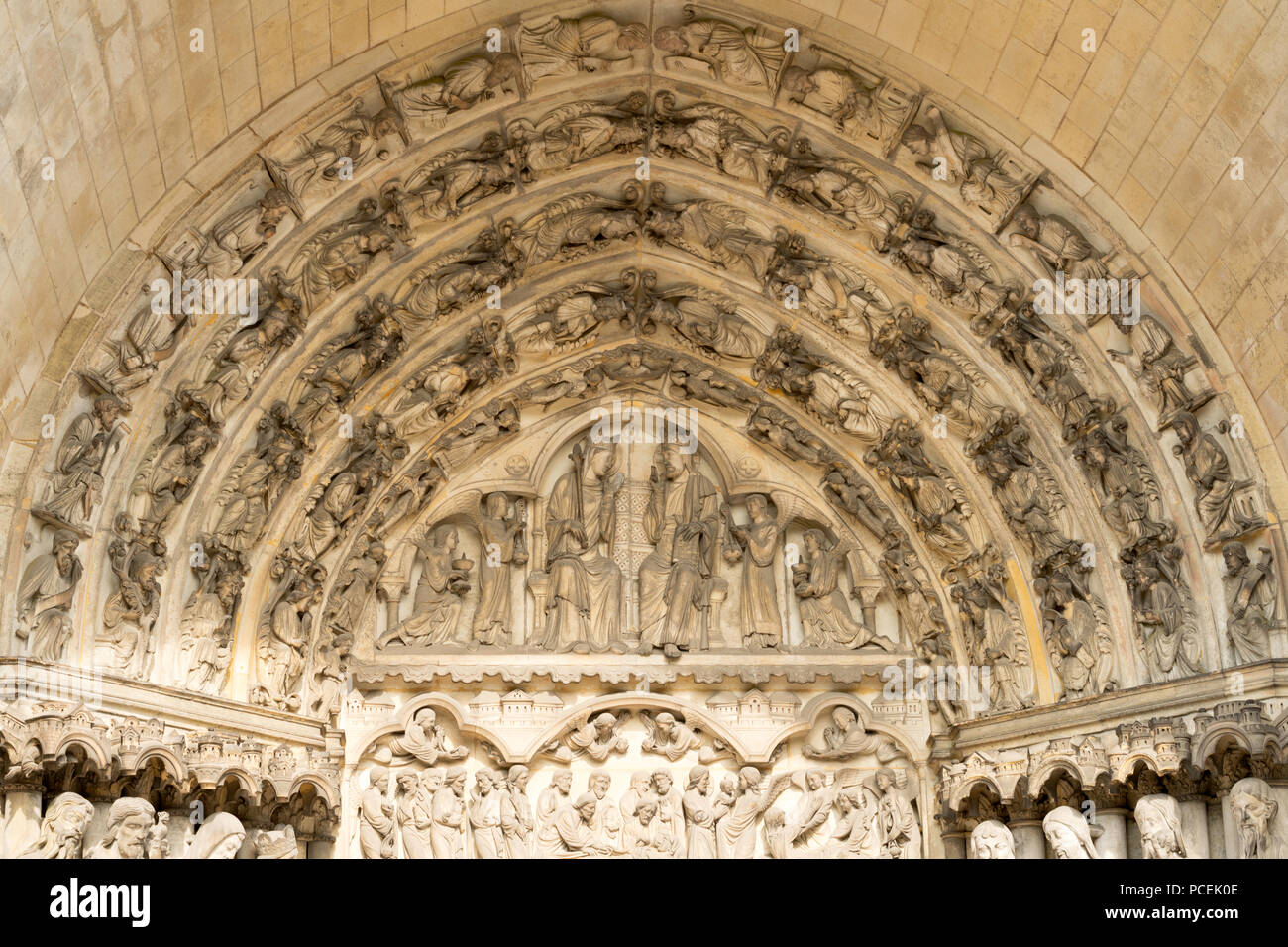 the tympanum over the central portal of laon cathedral france