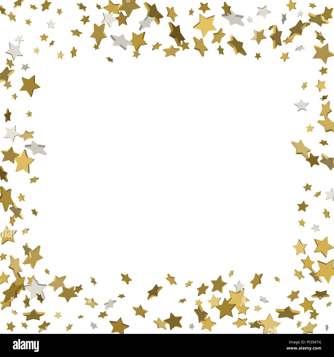 3d gold frame or border of random scatter golden stars on white 3d gold frame or border of random scatter golden stars on white background design element for festive banner birthday and greeting card postcard w m4hsunfo