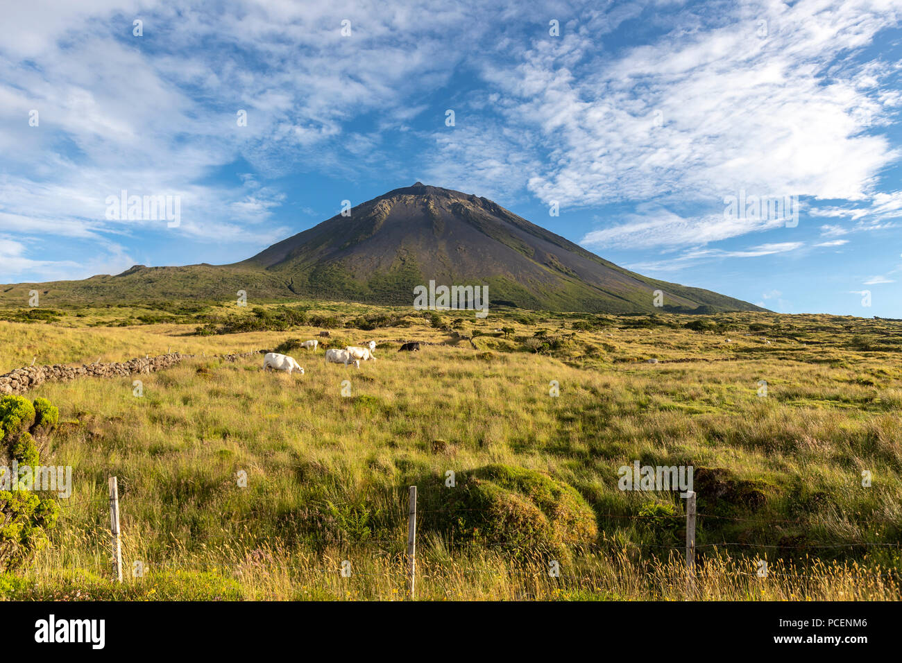 The silhouette of the Mount Pico along EN3 longitudinal road northeast of Mount Pico, Pico island, Azores, Portugal - Stock Image