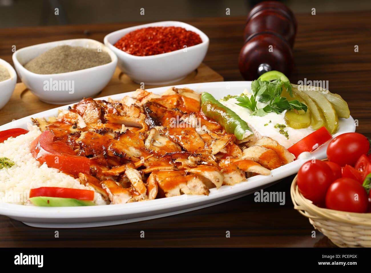Turkish iskender kebab - Chicken iskender kebap Stock Photo