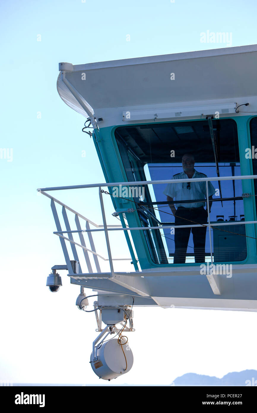 Captain Teo Strazicic on the bridge of the Royal Caribbean Independence of the Seas Cruise ship - Stock Image
