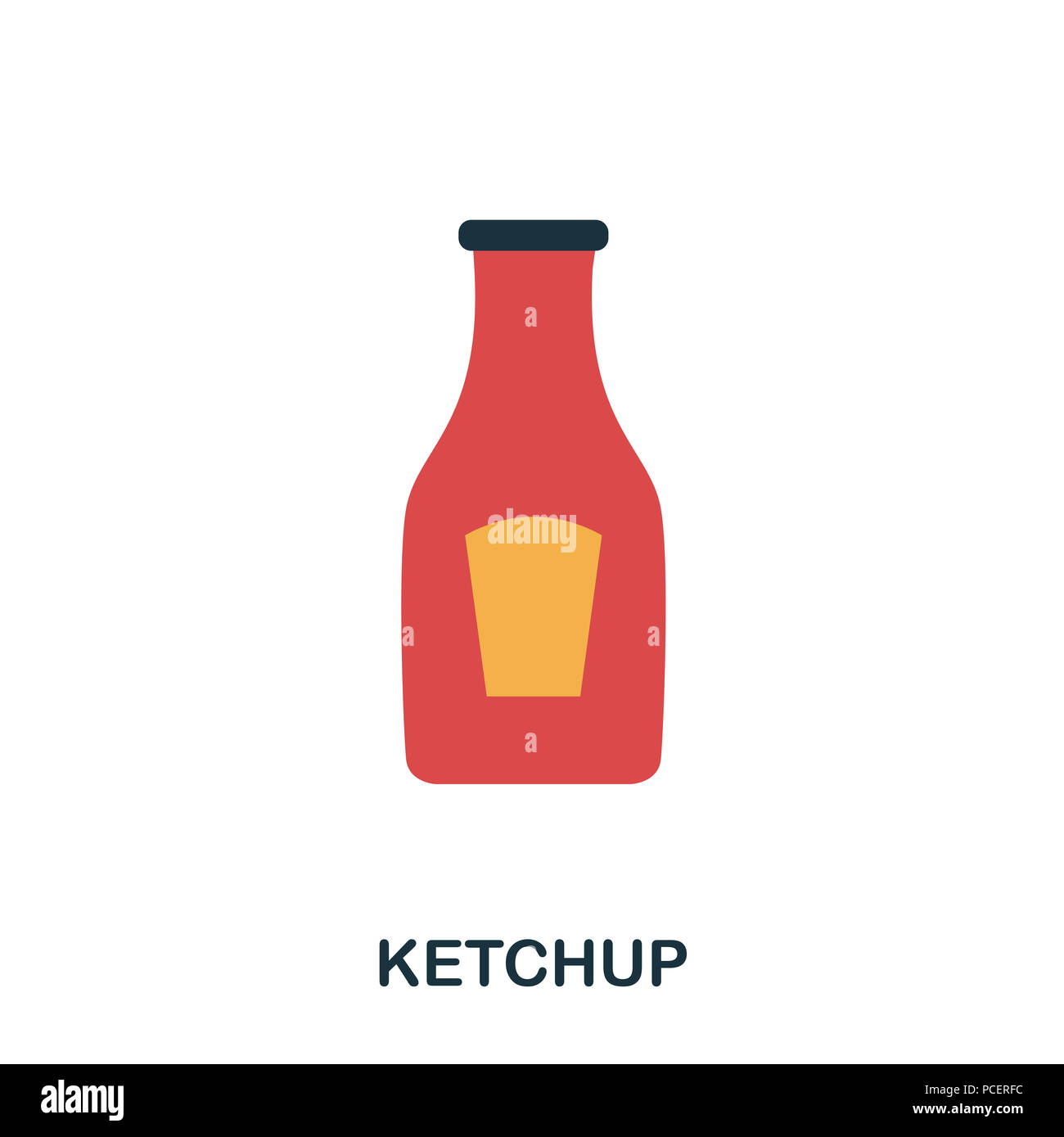 Ketchup icon. Mobile apps, printing and more usage. Simple element sing. Monochrome Ketchup icon illustration - Stock Image