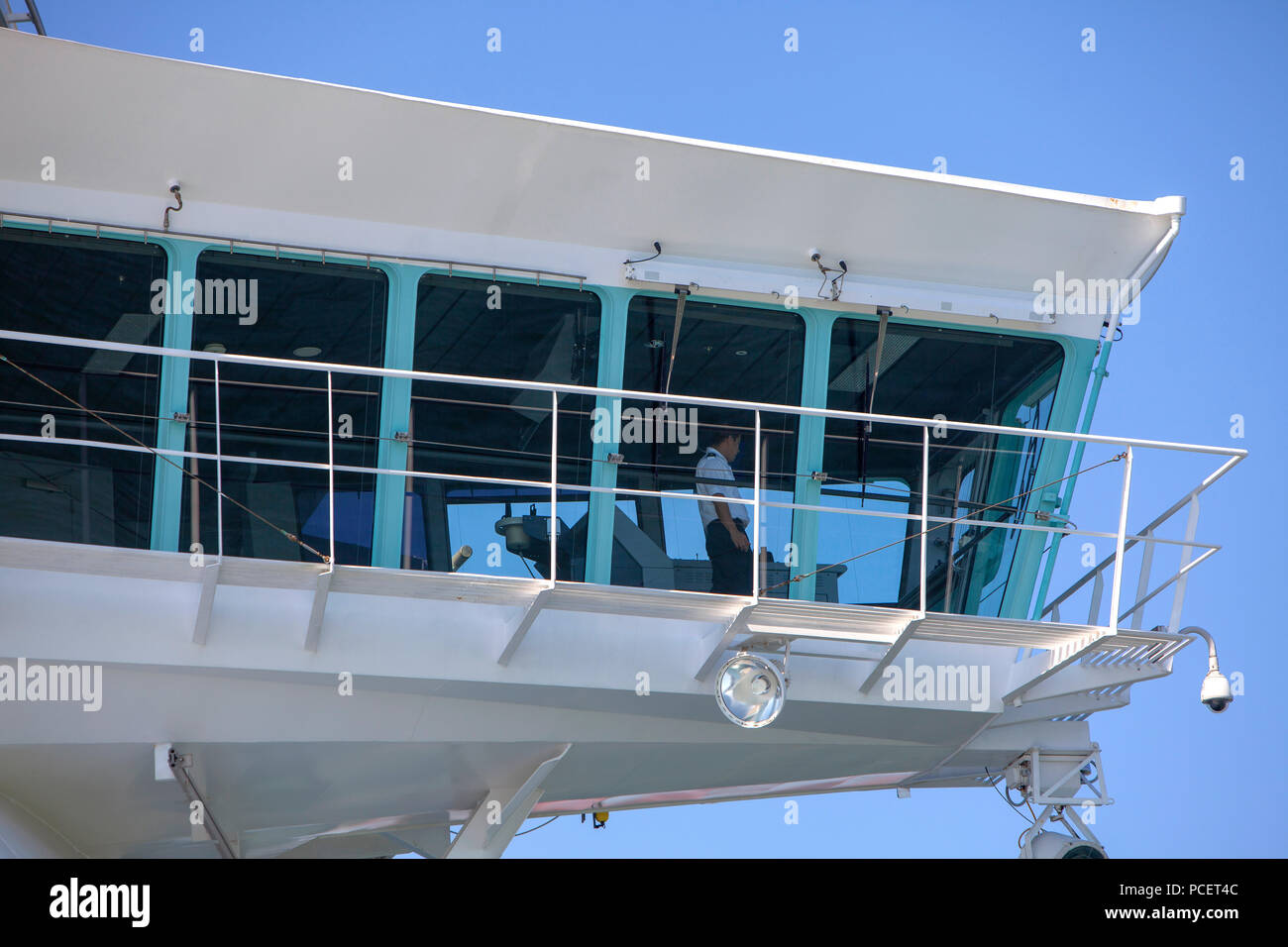 Modern cruise ship bridge of the Royal Caribbean Independence of the Seas in summer - Stock Image