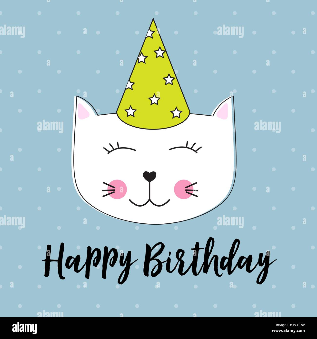 Happy Birthday Background wuth Little Cute Cat Vector Illustration - Stock Image