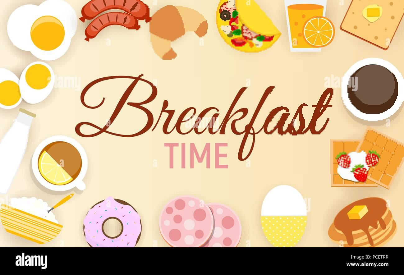 Breakfast Icon Set Background in Modern Flat Style Vector Illustration - Stock Image