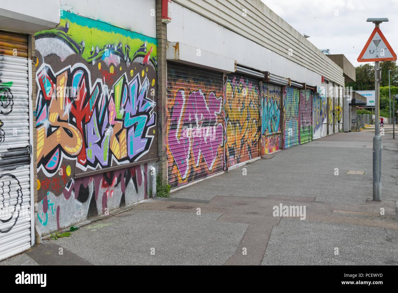 Abandoned Shops With Graffiti On Them All Saints Avenue Margate Kent