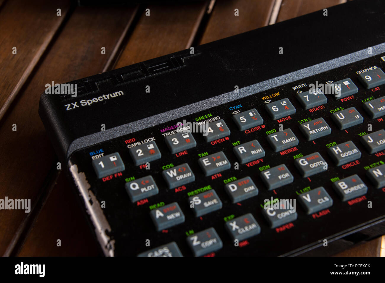 Sinclair Spectrum ZX Keyboard close up - Stock Image