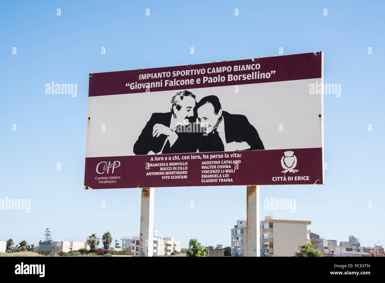 The Falcone Borsellino sports ground with a picture of the two anti-mafia judges after which it was named, Erice, Sicily - Stock Image