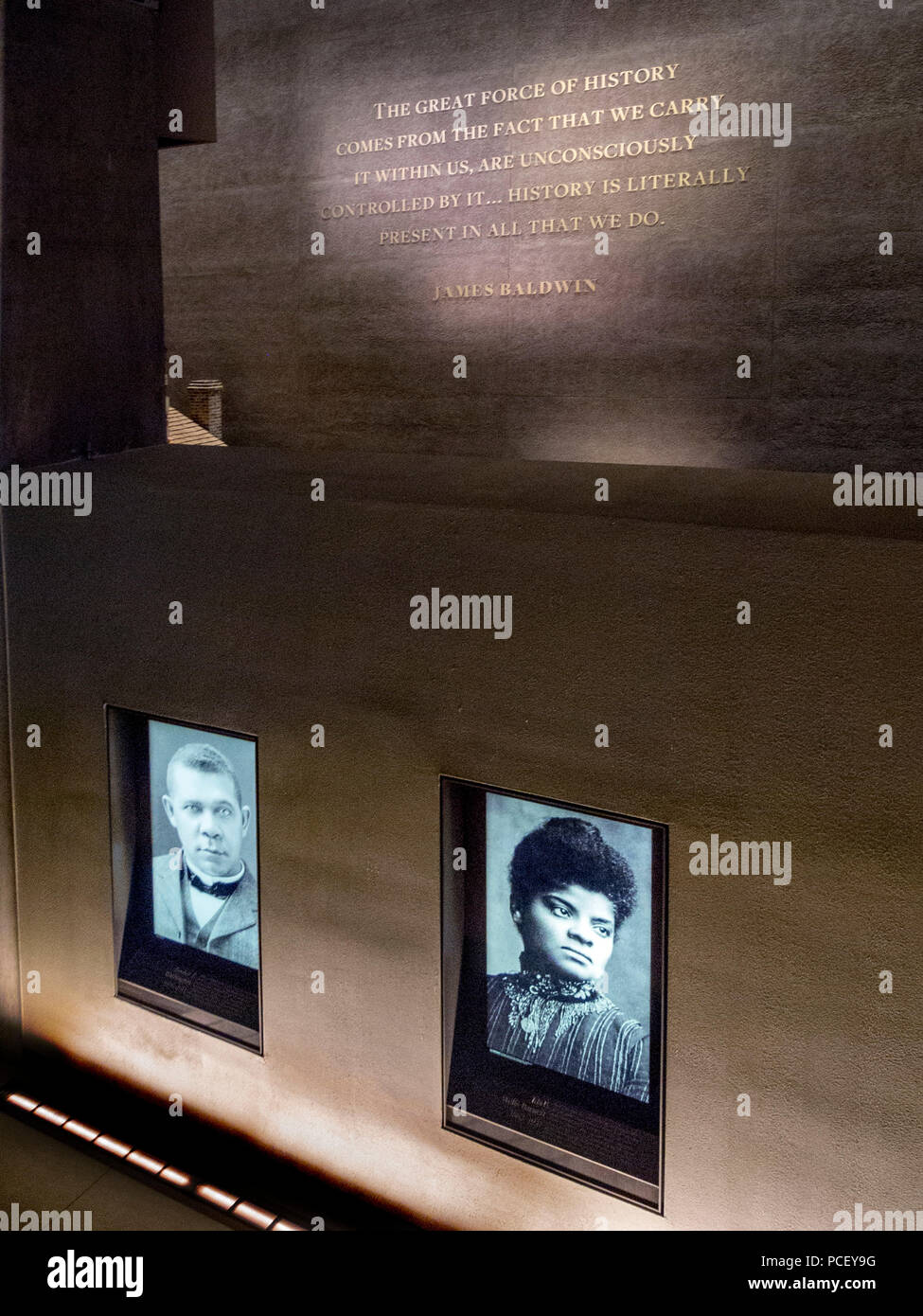 Images of civil rights personalities are displayed at the Smithsonian African American Museum in Washington, D.C. - Stock Image
