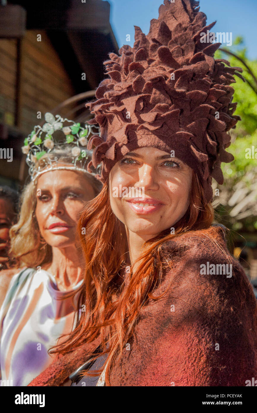 Bizarre Hats Are Modeled At An Outdoor Fashion Show Of Local Designers In Laguna Beach Ca Photo By Spencer Grant Stock Photo Alamy