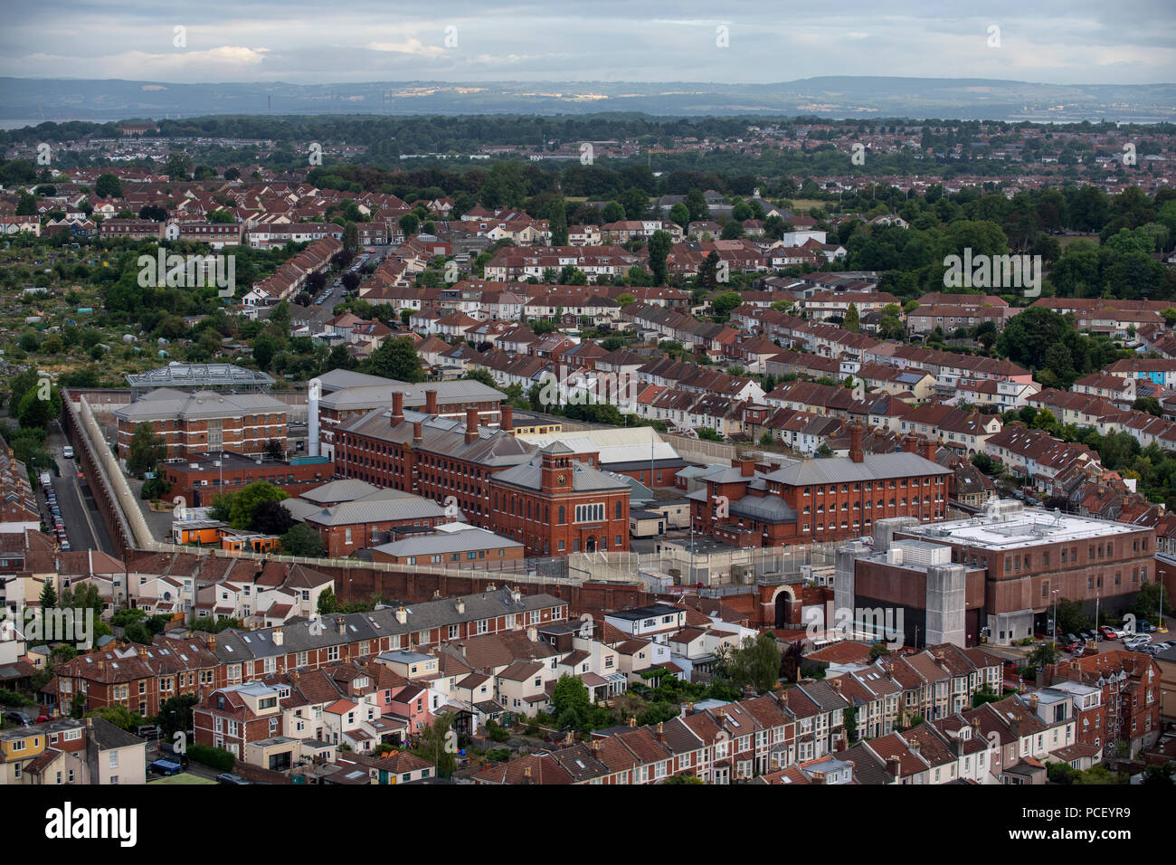 An aerial view of HM Prison Bristol. A category B men's prison, located in the Horfield area of Bristol. - Stock Image
