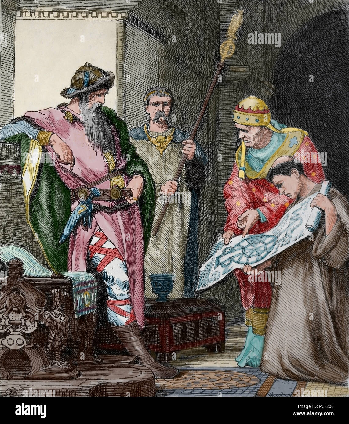 Charlemagne (742-814) examines a plan of a chapel for the palace of Aachen, Germany. Engraving, 1882. Color. - Stock Image