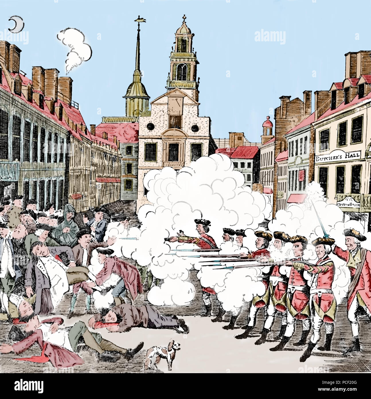 The Boston Massacre. March 5, 1770. Part of the American Revolution. Color engraving. 18th century. - Stock Image