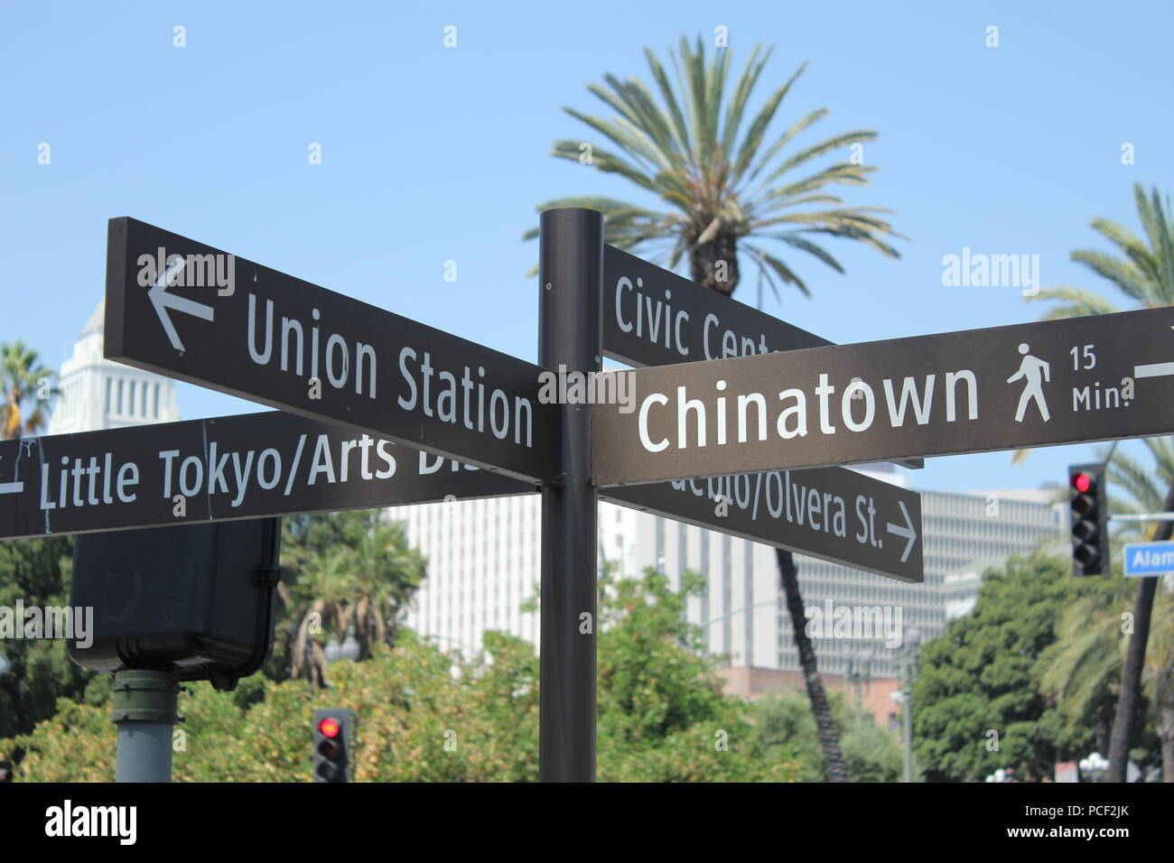 Union station street sign displaying Chinatown, Union station, Little Tokyo, Civic Center, and Olivera street. - Stock Image