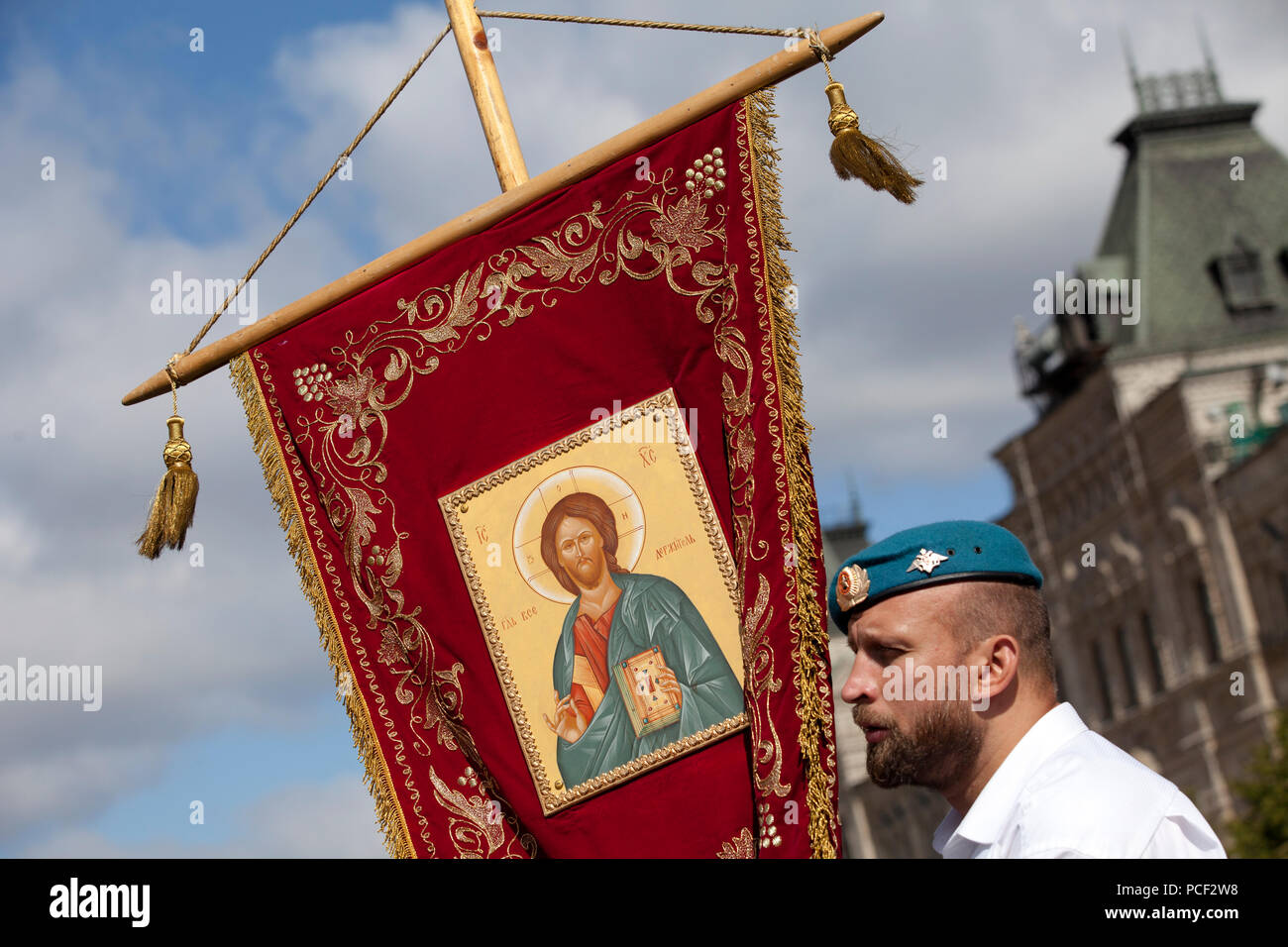 Joint procession of paratroopers and Orthodox priests on the day of St. Elijah the Prophet and the Airborne Forces in central Moscow, Russia - Stock Image