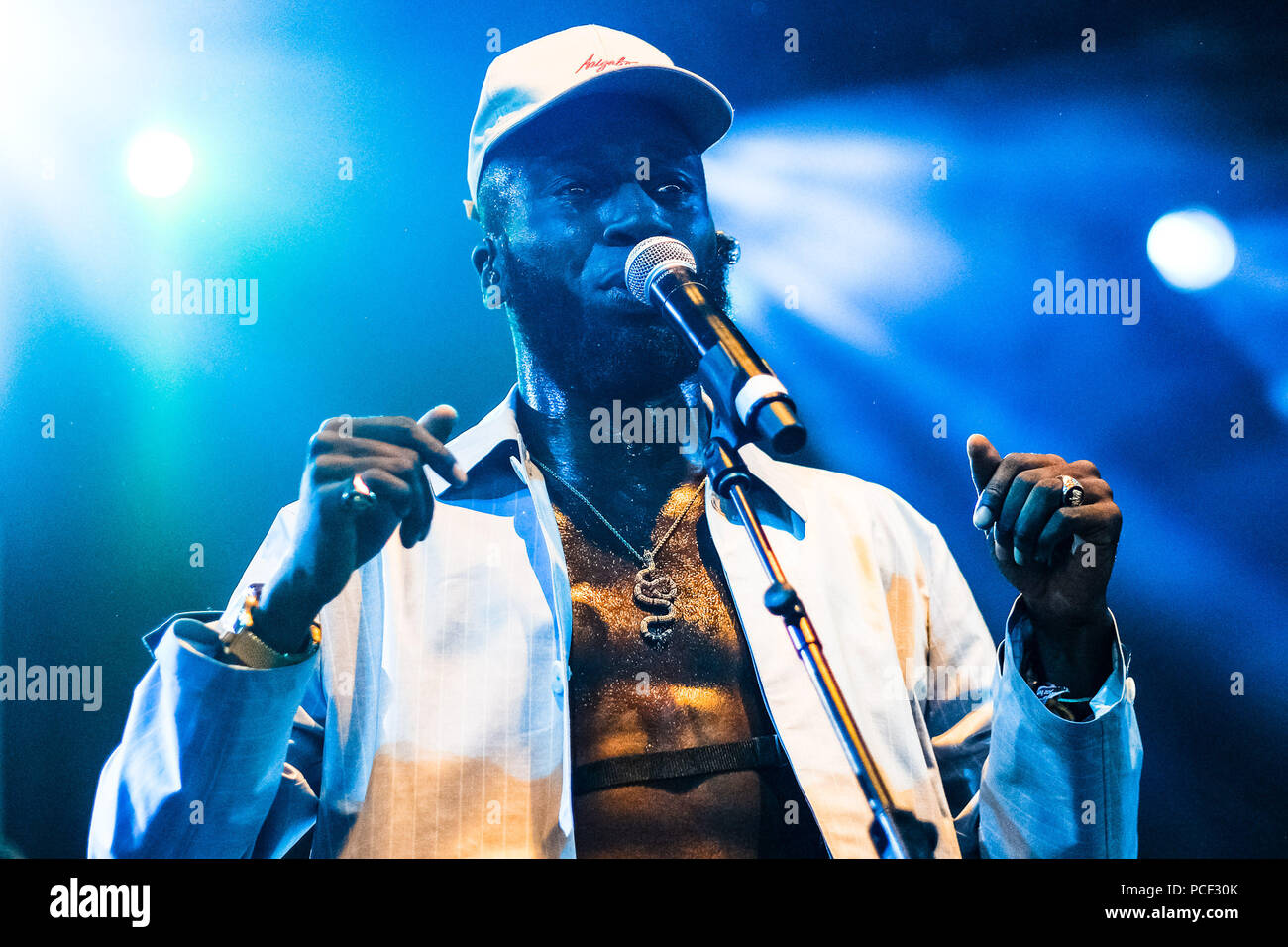 Kojey Radical onstage at WOMAD on Thursday 26 July 2017 held at Charlton Park, Wiltshire . Pictured: Kojey Radical is a British rapper/spoken word artist from London. - Stock Image