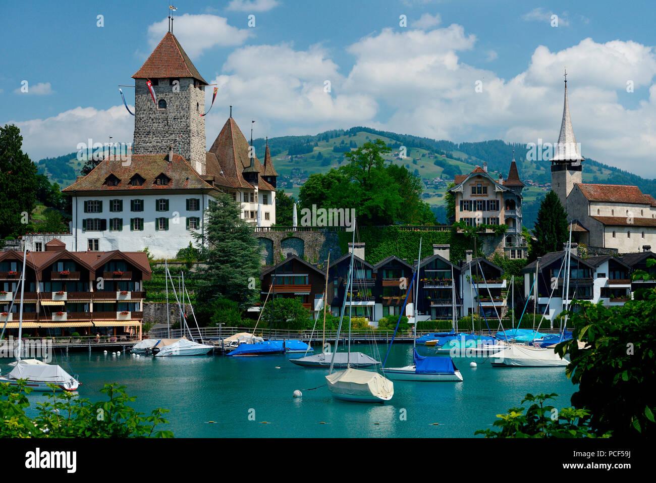 Schloss Spiez, Spiez am Thunersee, Niedersimmental, Kanton Bern, Schweiz - Stock Image