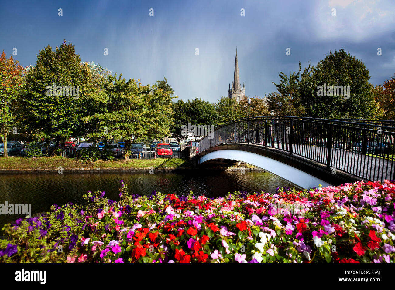 Flowers and footbridge over Newry canal - Stock Image
