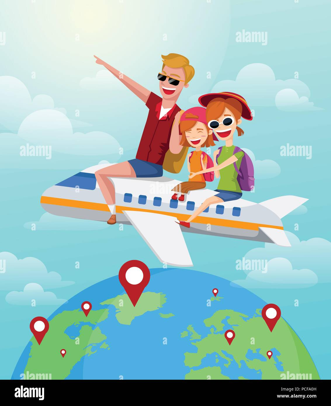 Journey Travel Rides Plane Summer On Family Happy Concept