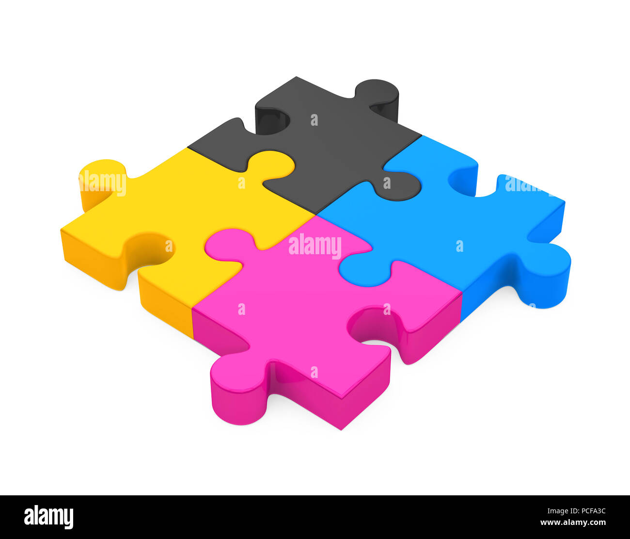 CMYK Jigsaw Puzzle Isolated - Stock Image