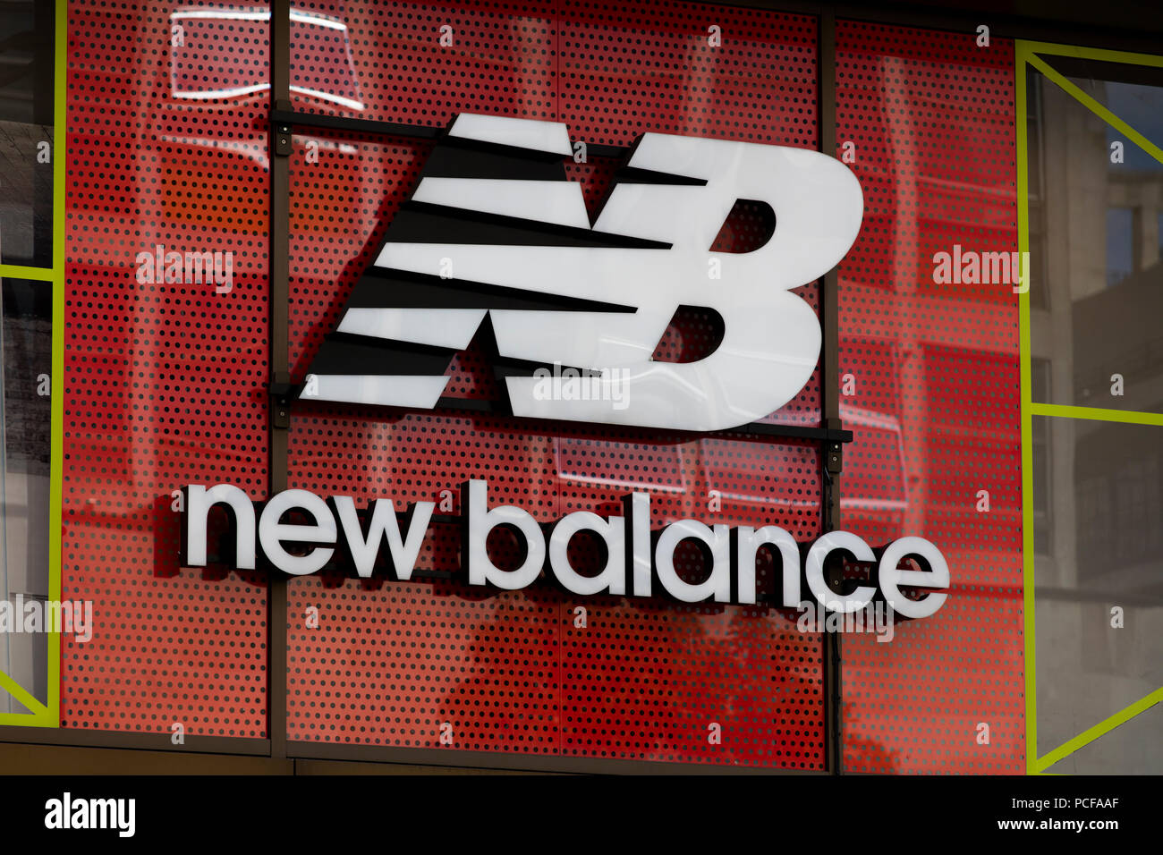 d2f55c2da8 LONDON, UK - JULY 31th 2018: New Balance trainers and sportswear shop sign  on Oxford Street in central London.