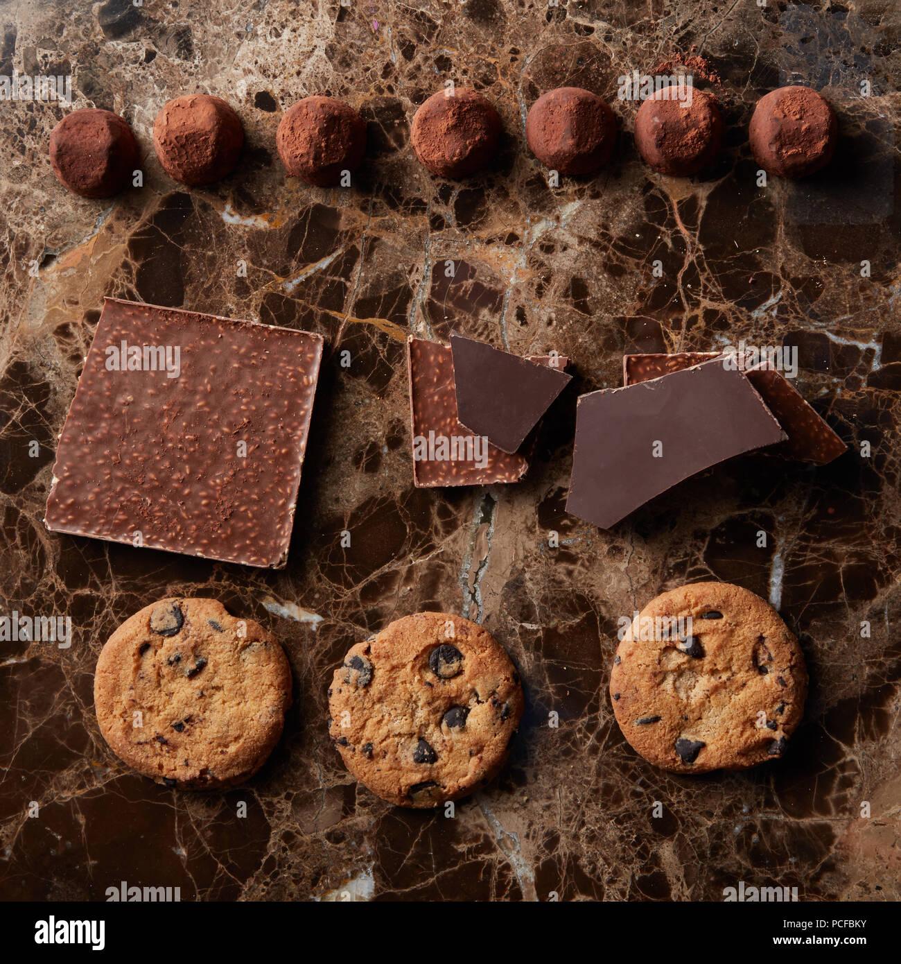 chocolate,truffle mushroom,chocolate biscuits Stock Photo