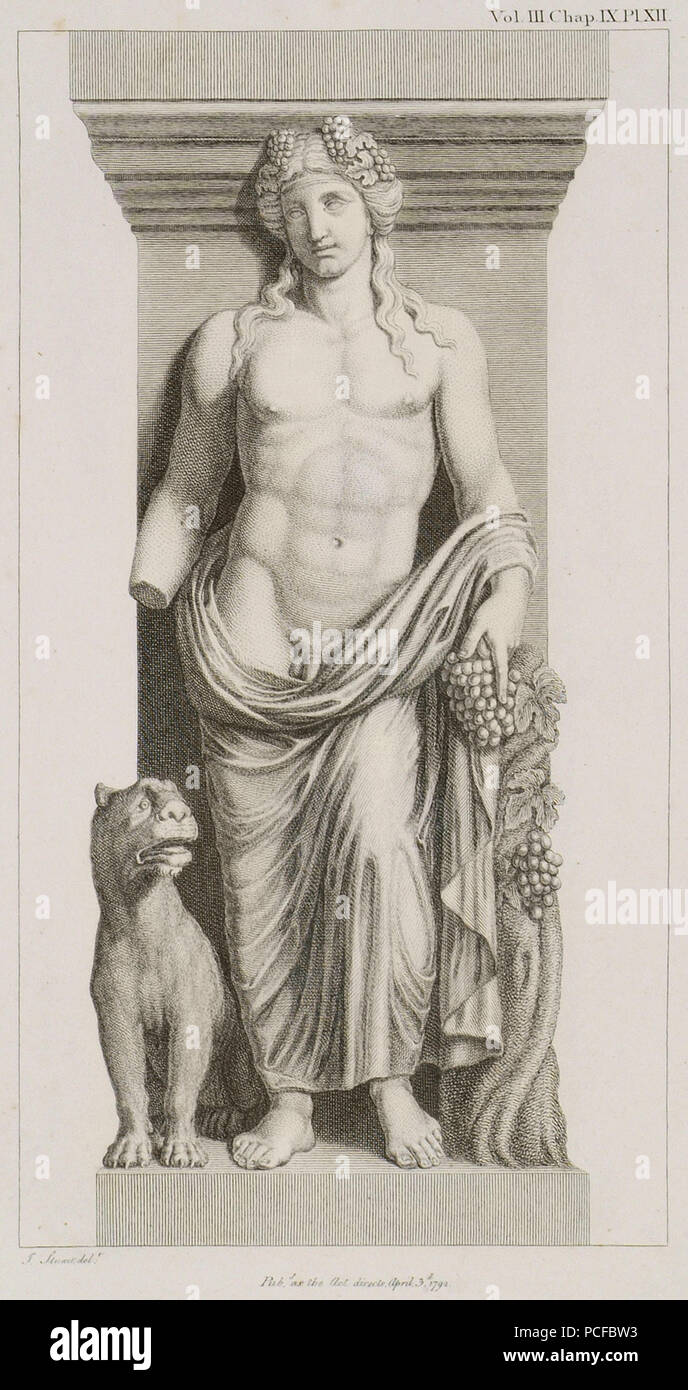67 Bacchus with a Tiger See the Bacchae of Euripides - Stuart James & Revett Nicholas - 1794 Stock Photo