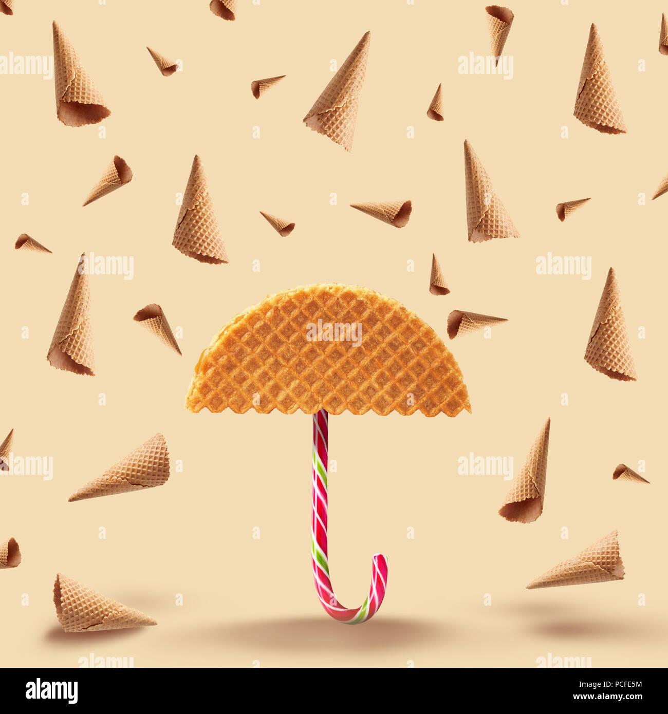 ice cream wafer,waffle,ice cream cone - Stock Image