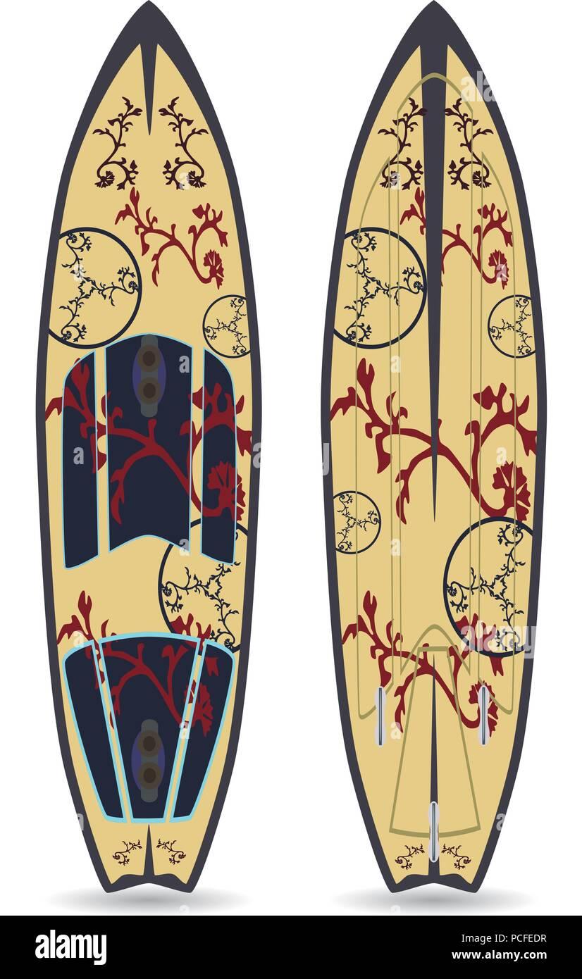 Vector flat illustration of surfing board - Stock Vector
