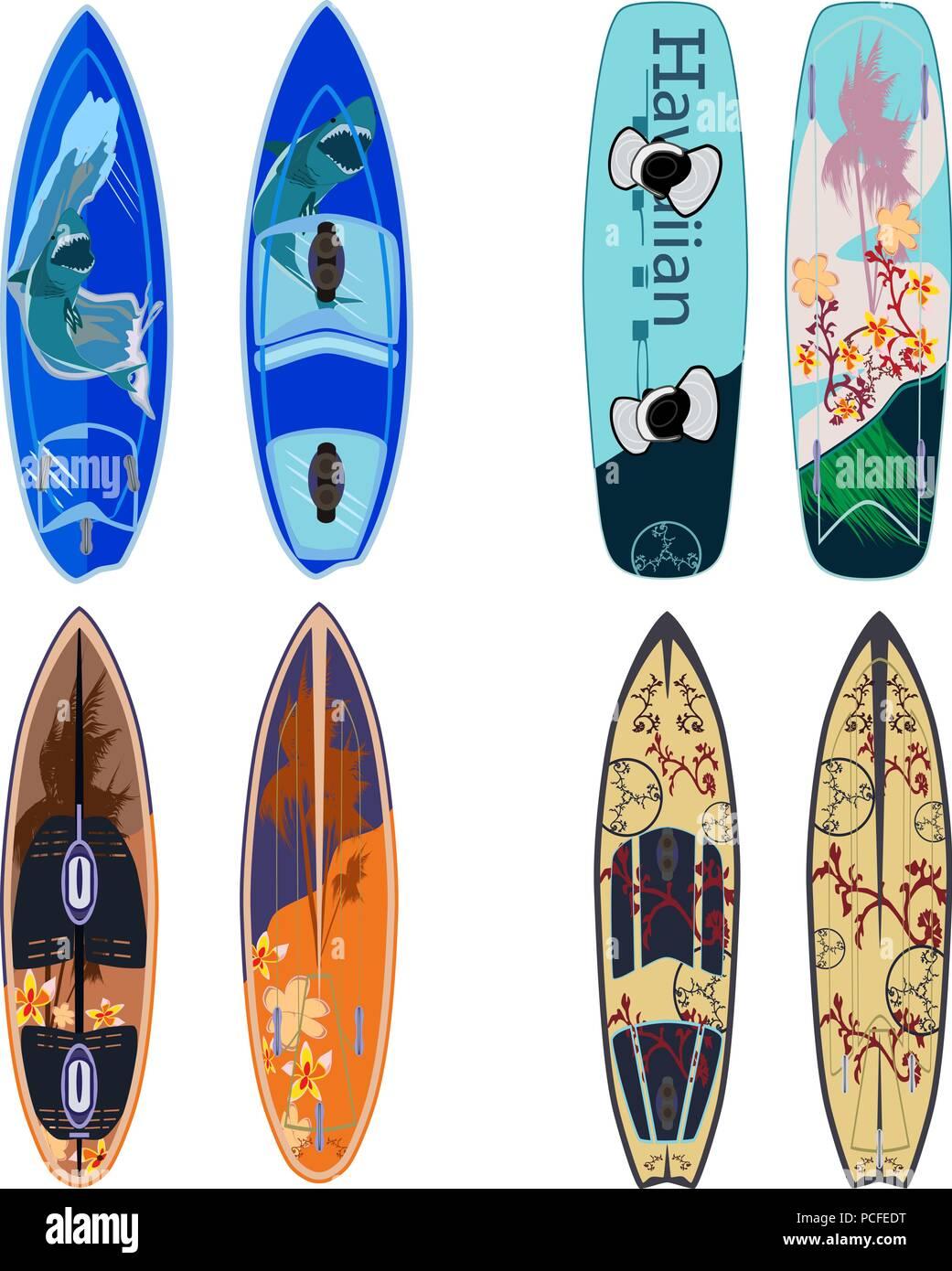 Vector flat set of surfing boards - Stock Vector