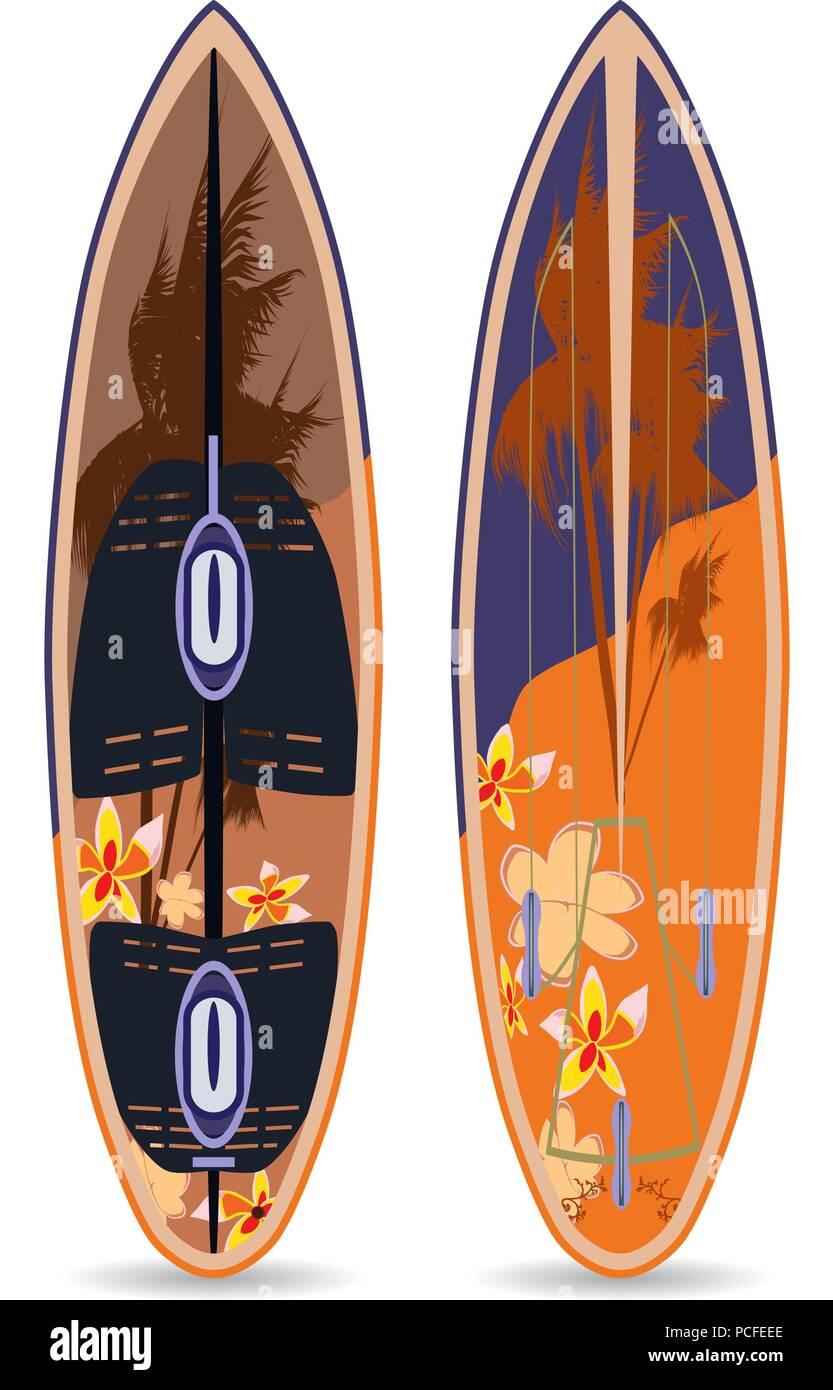 Vector flat illustration of surfing board Stock Vector