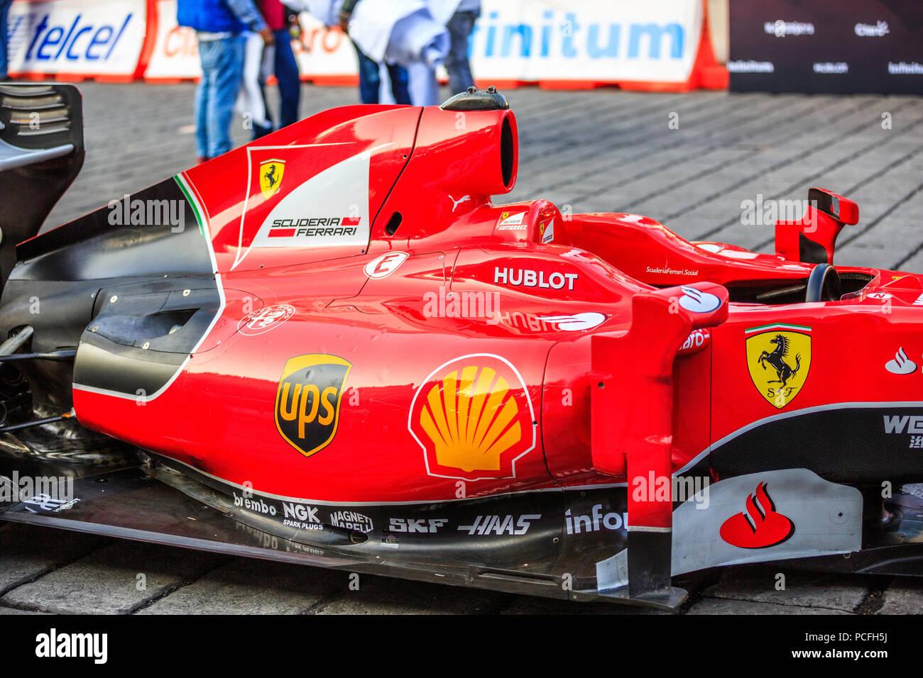 Mexico City, Mexico - July 08, 2015: The Ferrari  F1 F60 car. At the Scuderia Ferrari Street Demo By Telcel - Infinitum. - Stock Image