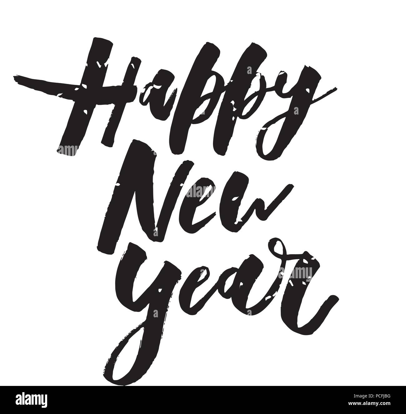 Happy New Year Vector Phrase Lettering Calligraphy Sticker Stock ...
