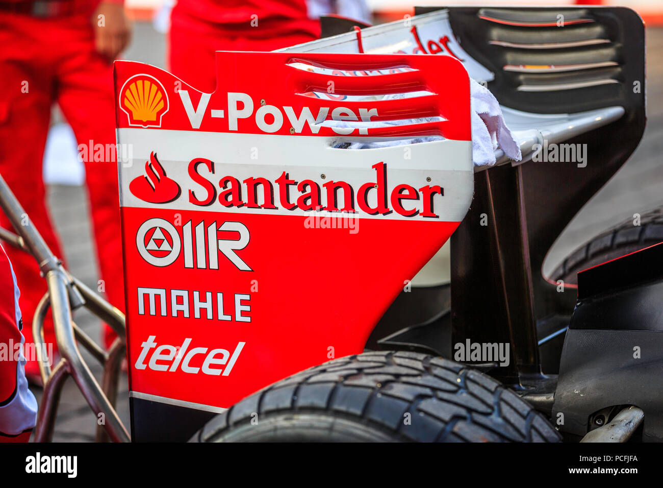 Mexico City, Mexico - July 08, 2015: Ferrari F1 F60 Rear Wing Sponsors. At the Scuderia Ferrari Street Demo By Telcel - Infinitum. - Stock Image