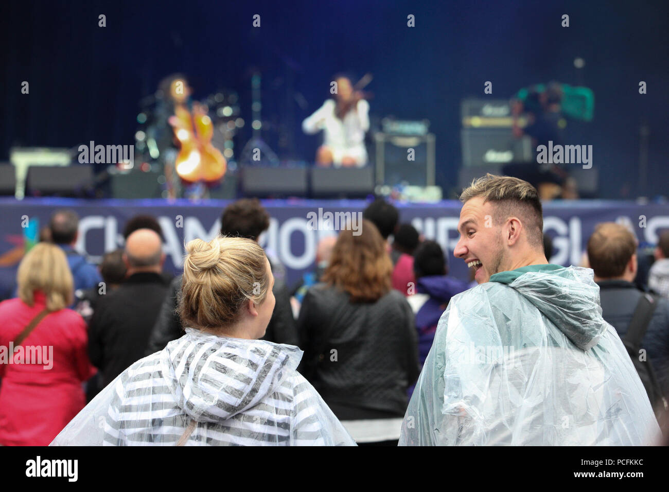Glasgow 1 August 2018. Big Opening Party in George Square for the 2018 European Championships. A slightly damp start hasn't dampened spirits. Credit Alan Oliver / Alamy Live News Stock Photo