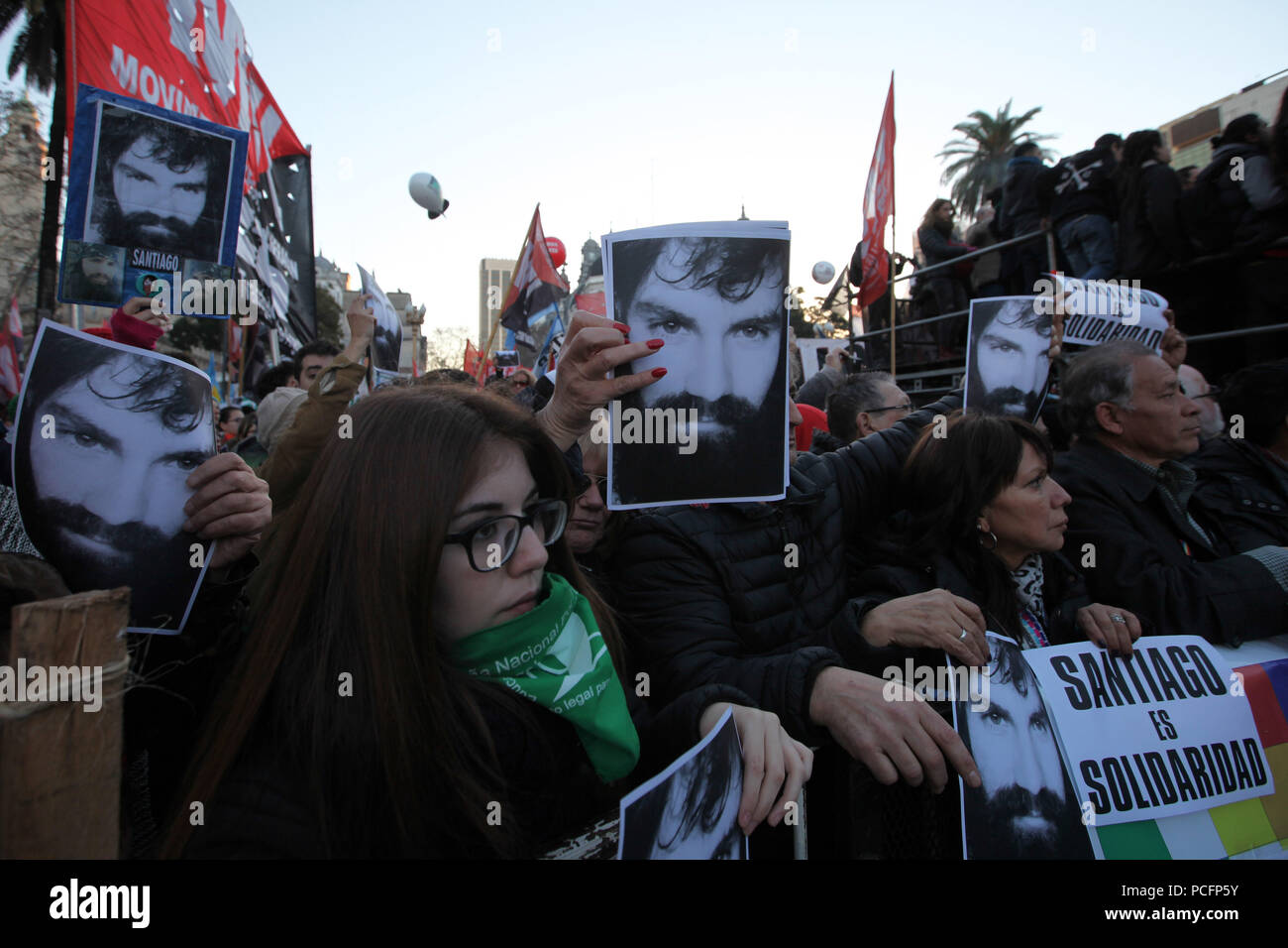 Buenos Aires, Buenos Aires, Argentina. 1st Aug, 2018. The family of Argentinian artist and activist Santiago Maldonado, who died following a confrontation with police at a Mapuche land protest last year, has called for a march to commemorate the first anniversary of his forced disappearance. Credit: Claudio Santisteban/ZUMA Wire/Alamy Live News - Stock Image