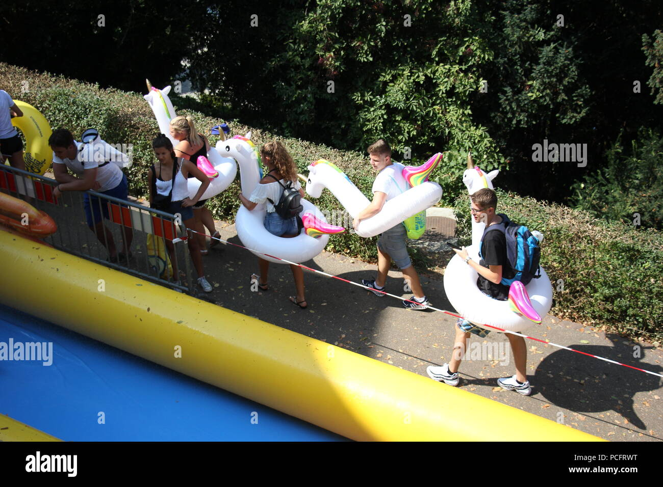 Basel, Switzerland. 1st Aug 2018. People at the Slide my city event on National Swiss Day in Basel Switzerland Credit: Gari Wyn Williams/Alamy Live News Stock Photo