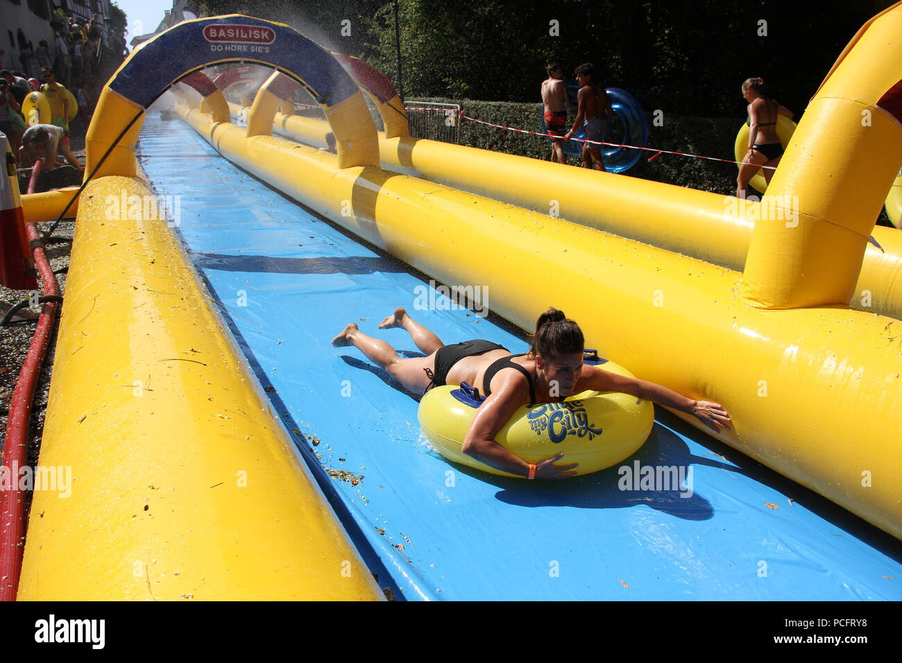 basel switzerland 1st aug 2018 people at the slide my city event