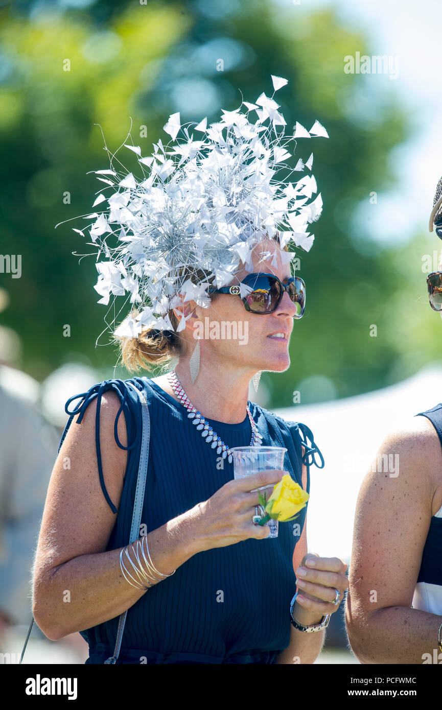 Goodwood, UK, 2 August 2018 Hats on display during Ladies' Day at Glorious Goodwood. Credit John Beasley/Alamy Live News - Stock Image