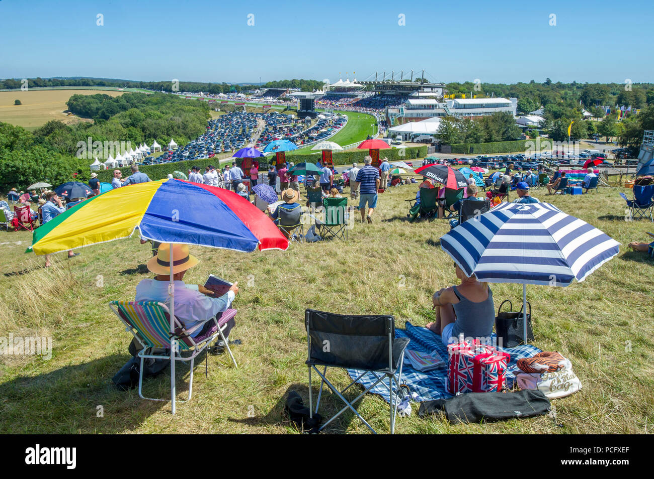 Goodwood, UK, 2 August 2018 View from Trundle Hill of the opening Matchbook Handicap Stakes won Communique and Silvestre De Souza at Glorious Goodwood. Credit John Beasley/Alamy Live News - Stock Image