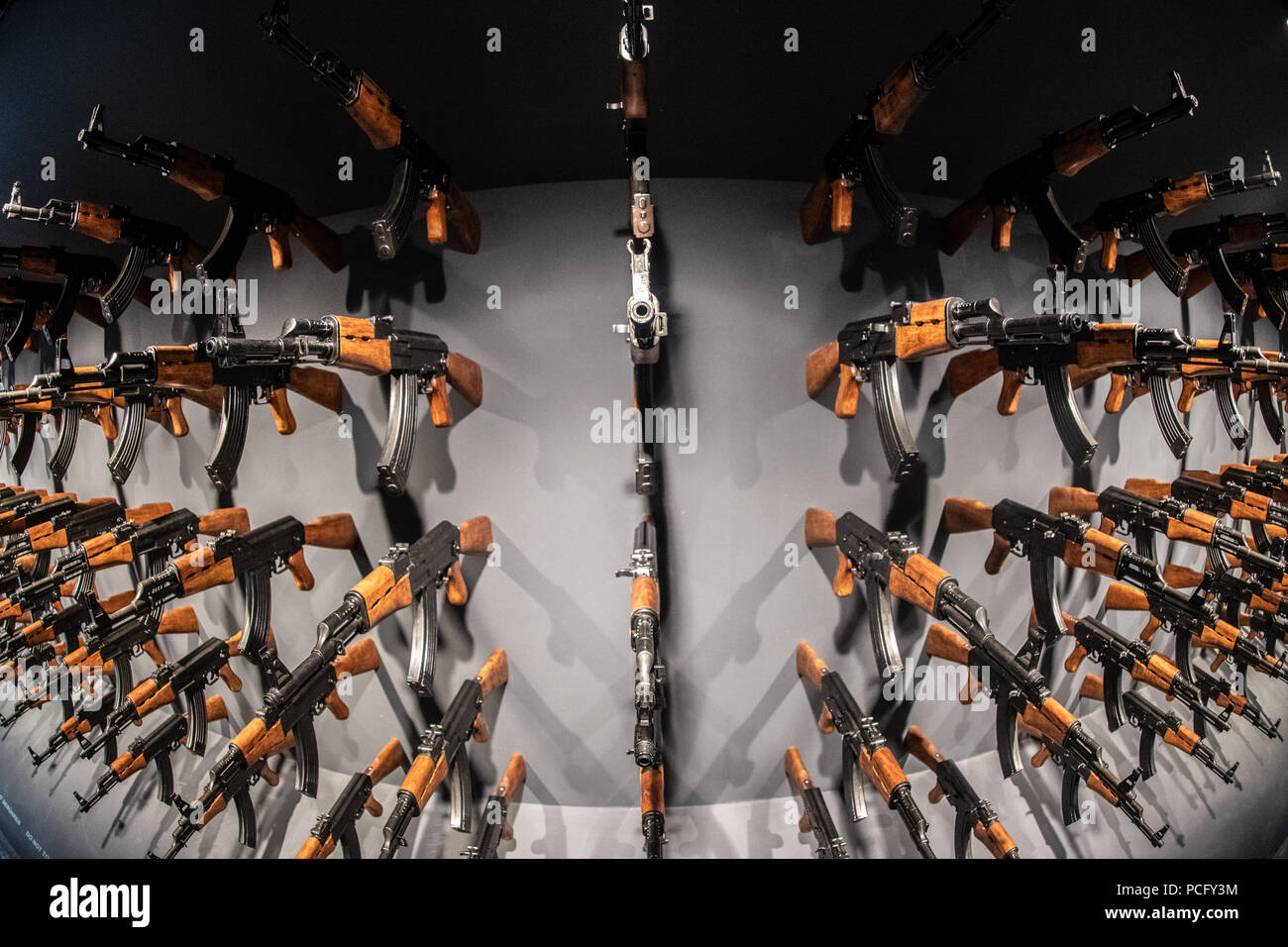 Germany Berlin 02nd Aug 2018 140 Kalashnikov Models Hang On A