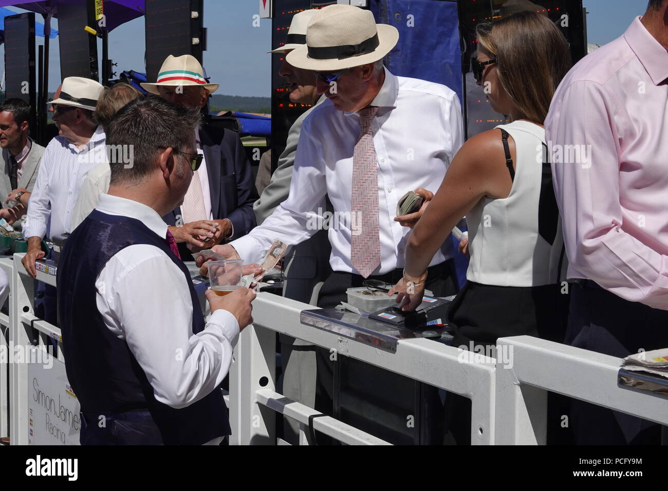 Goodwood Racecourse, West Sussex, UK. 2nd August,  2018   2nd August,  2018   Goodwood Racecourse, West Sussex, UK  Atmosphere scenes from Ladies Day on the sunny Sussex Downs at Glorious Goodwood day} three. Credit: Motofoto/Alamy Live News - Stock Image