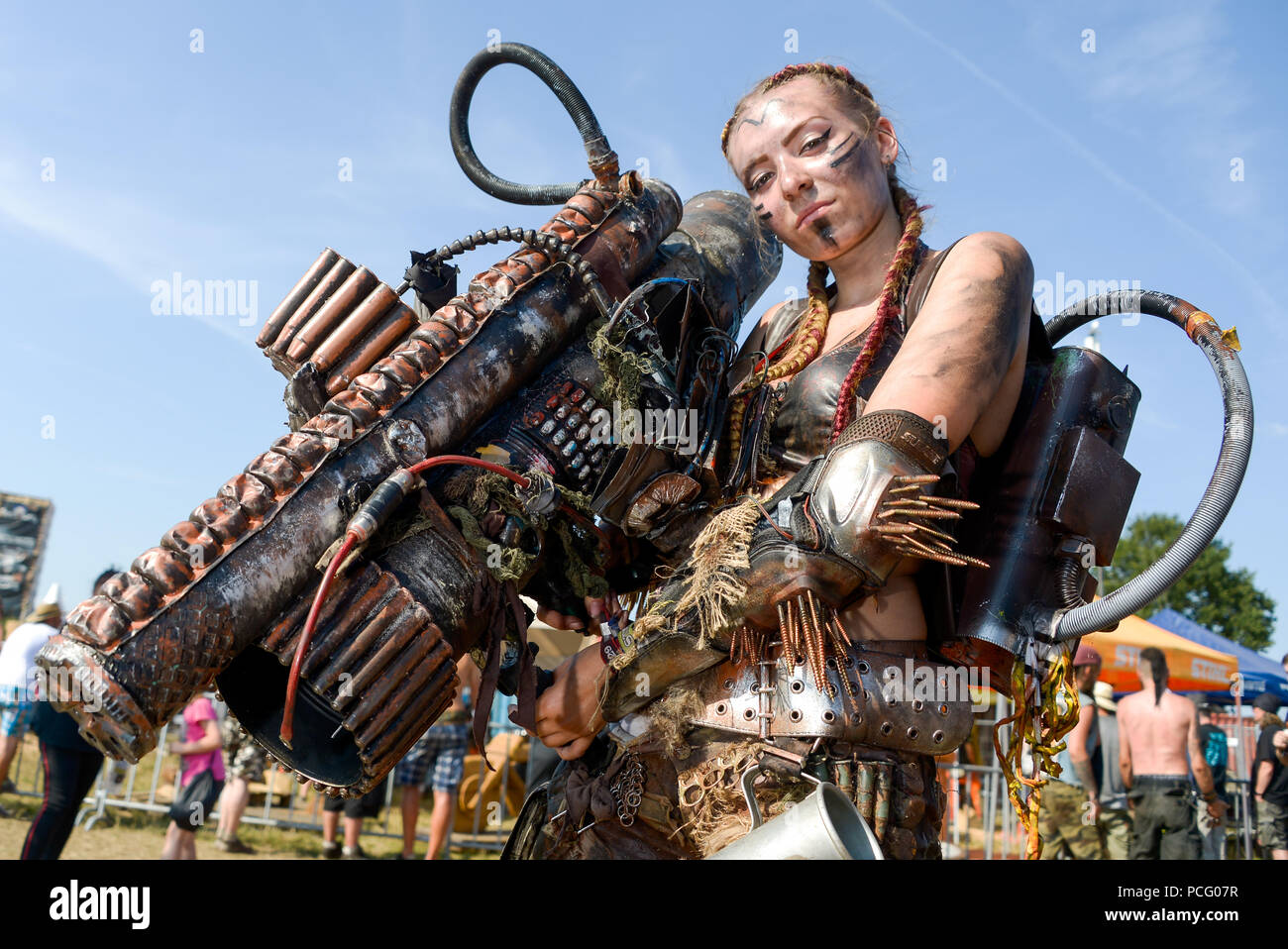 Wacken, Germany. 02nd Aug, 2018. A festival visitor wears an end-time outfit at the Wacken Open Air. According to the organisers, the world's largest heavy metal festival starts with 75,000 visitors. Credit: Axel Heimken/dpa/Alamy Live News - Stock Image
