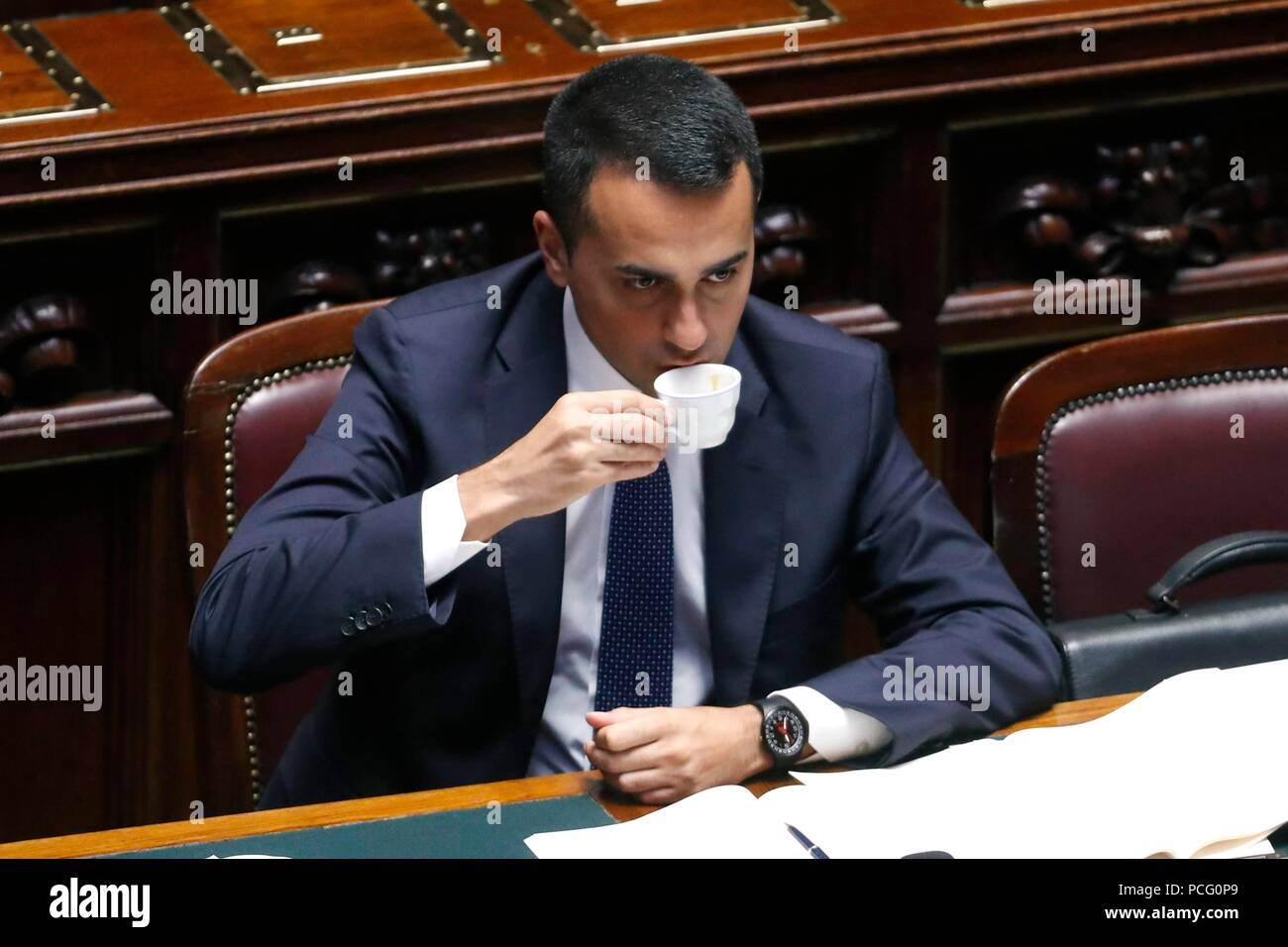 Italy, Rome, 02 August, 2018 : The Minister of Labour, Social Policies, Economic Development and Vice Premier Luigi Di Maio, in the discussion in the Chamber of Deputies.In the picture drinking a coffee    Photo © Remo Casilli/Sintesi/Alamy Live News - Stock Image